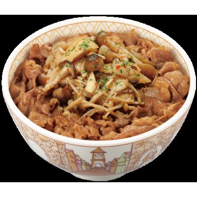 フレッシュ!国産きのこのシャキシャキ食感「きのこペペロンチーノ牛丼」新発売‼